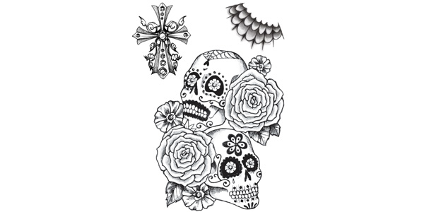 Skull and Flowers Set