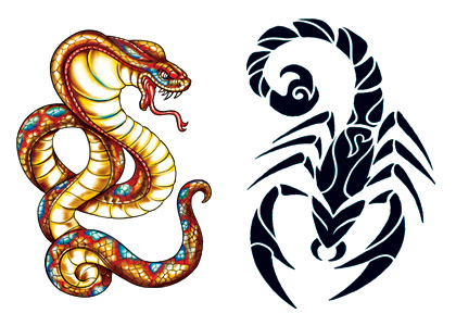 Scorpion and Snake Glow in dark