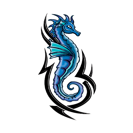 Blue and Black Seahorse - GLI