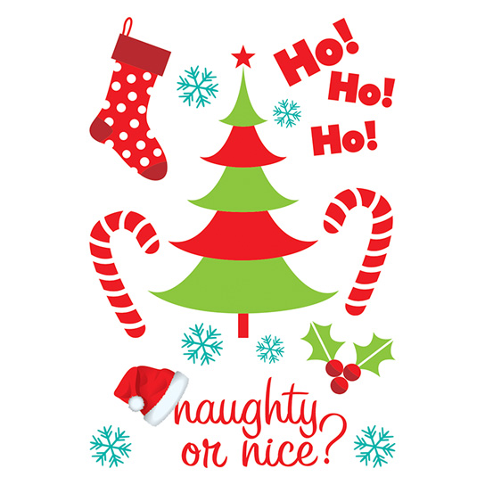 Christmas Naughty or Nice sheet - glitter