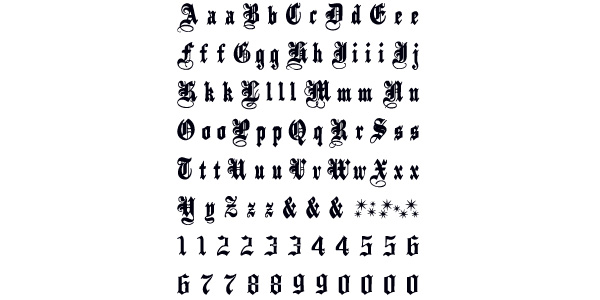 Letters and Numbers Gothic