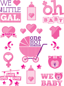 New Baby Shower Temporary Tattoos - It's a Girl!