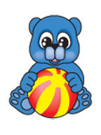 Blue Teddy Bear with a Ball