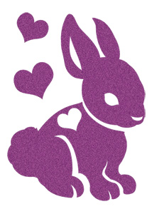 Purple Bunny with Hearts (Glitter)