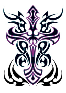 Purple Tribal Cross