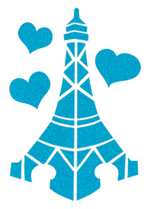 Blue Sugar Eiffel Tower with Hearts (Glitter)