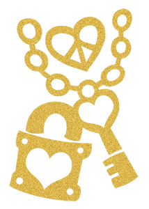 Gold Sugar Heart Lock and Key (Glitter)