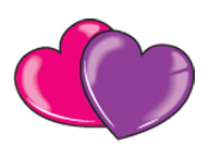Pink and Purple Hearts (Glitter)