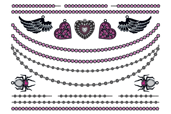 Jewellery - Hearts Wings Spiders and Chains Pink