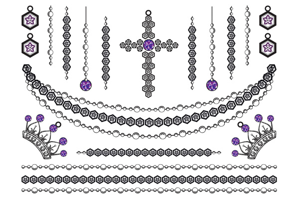 Jewellery - Crowns Cross and Chains Purple