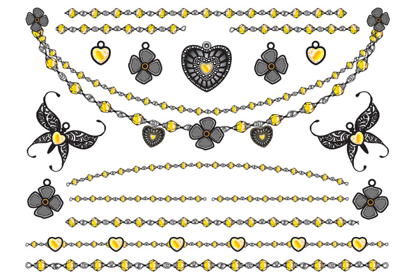 Jewellery - Hearts Flowers Butterflies and Chains Gold