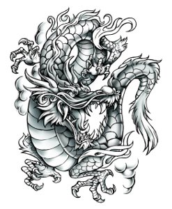 Large Grey Dragon Temporary Tattoo
