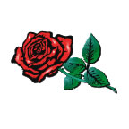 Red Rose with Leaves 1