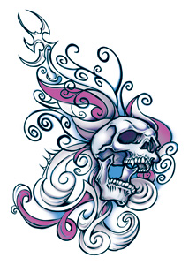 Wicked Midnight Skull Butterfly Temporary Tattoo