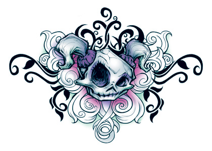 Wicked Midnight Skull Girl Temporary Tattoo