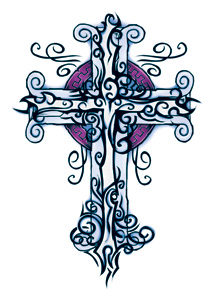 Wicked Midnight Tribal Cross Temporary Tattoo