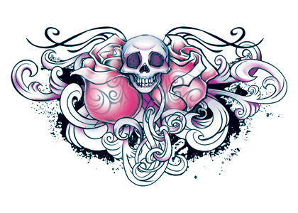 Wicked Midnight Skull Roses Temporary Tattoo