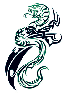 Green Tribal Snake and Dagger