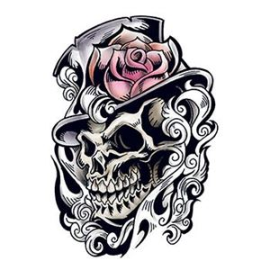 Skull, Top Hat with Rose